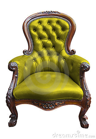 Vintage green leather armchair with clipping path
