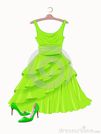 Free Vintage Green Silk Dress And High-heeled Shoes Stock Photos - 75140673