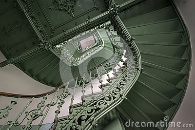 Vintage, green spiral staircase
