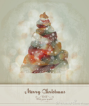 Vintage Greeting with Abstract Christmas Tree