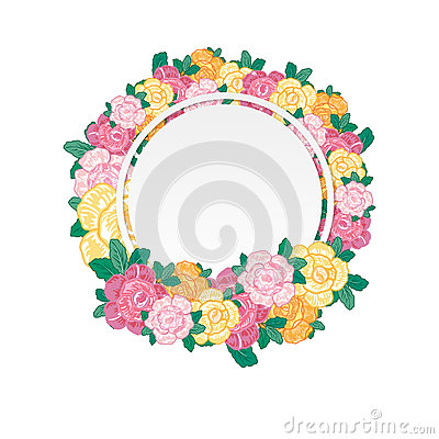 Vintage Greeting Card with Blooming Flowers. Vector Illustration Vector Illustration