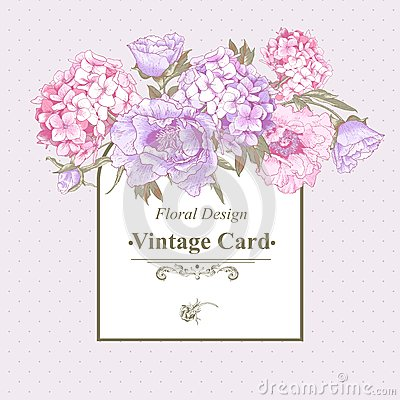 Free Vintage Greeting Card With Hydrangea And Peonies Royalty Free Stock Image - 43885196