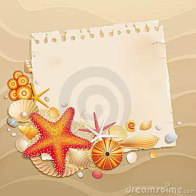 Free Vintage Greeting Card With Shells Royalty Free Stock Photos - 20843708