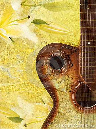 Vintage grunge background with guitar