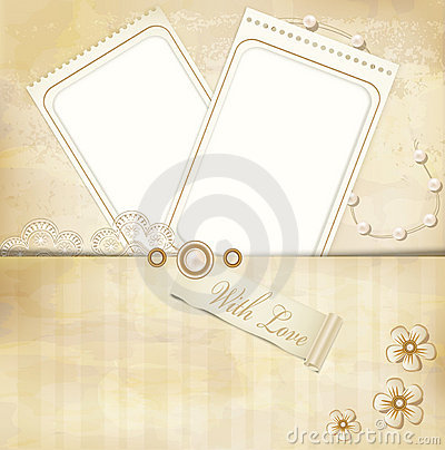 Vintage, grunge background with two photo frames