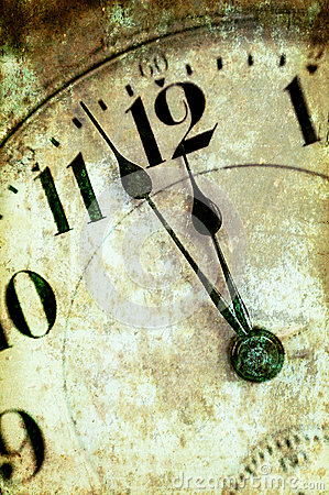 Vintage Grunge Clock Face Closeup