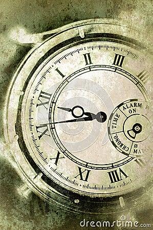Vintage Grunge Clock Face Closeup