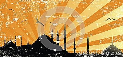 Vintage grunge mosque silhouette raster