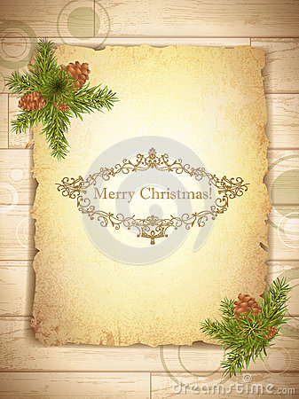 Free Vintage Grunge Paper With Christmas Greetings Royalty Free Stock Photography - 27423527