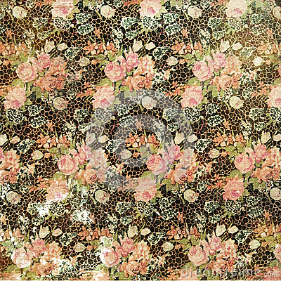 Vintage Grungy Distressed Floral Rose Wallpaper
