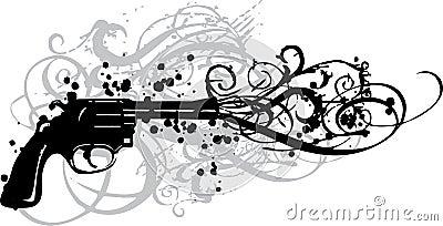 Vintage gun with grungy swirls