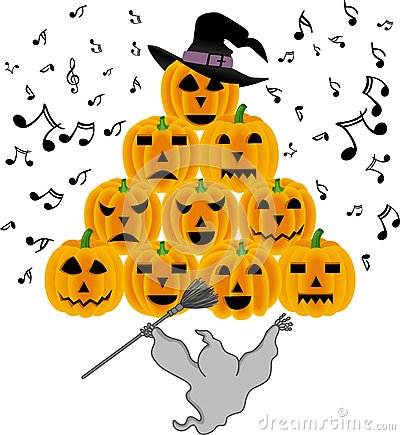 Vintage halloween ghost singing pumpkins