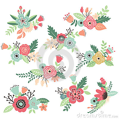 Free Vintage Hand Drawn Flowers Set Stock Image - 57316621