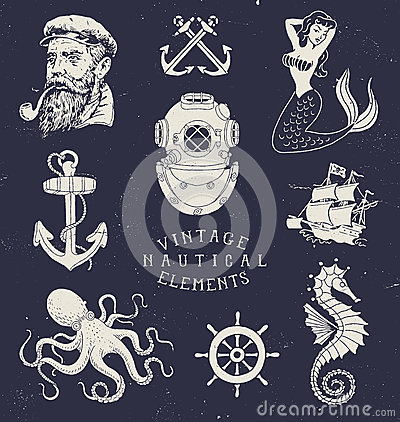 Free Vintage Hand Drawn Nautical Set Stock Photos - 55166283