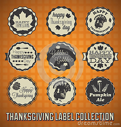 Vintage Happy Thanksgiving Day Labels