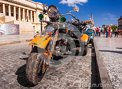 Vintage Harley Davidson in Havana Editorial Photography