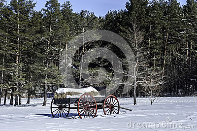 Vintage Hay Wagon in Snow