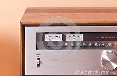 Vintage hi-fi Stereo Tuner in wooden cabinet