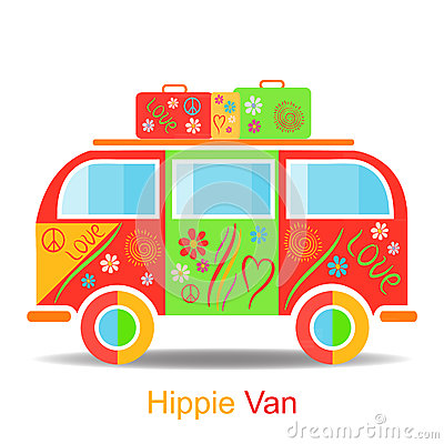 Vintage hippie van Cartoon Illustration