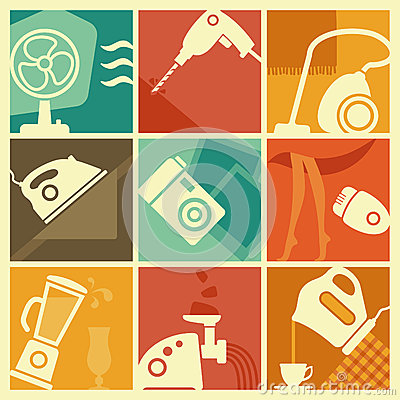 Free Vintage Home Appliances Icons Royalty Free Stock Image - 35244846