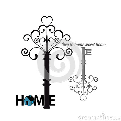 Vintage home key icon