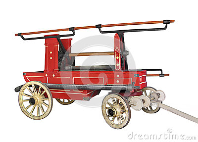 Vintage horse drawn fire wagon isolated.
