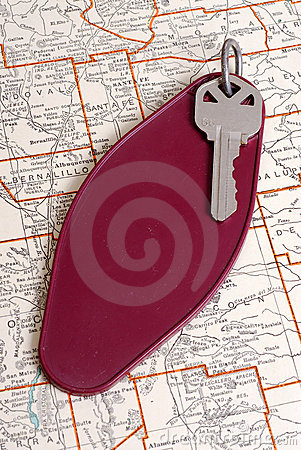 Vintage hotel key and map