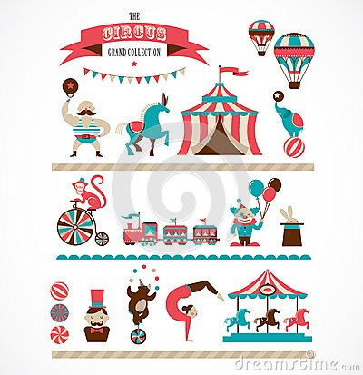 Free Vintage Huge Circus Collection With Carnival, Fun Stock Photo - 50552170