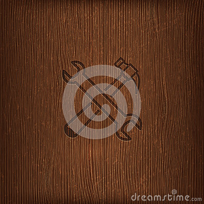 Vintage illustration with a hammer and a wrench on wood background