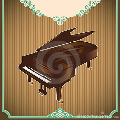 Vintage illustration with piano.
