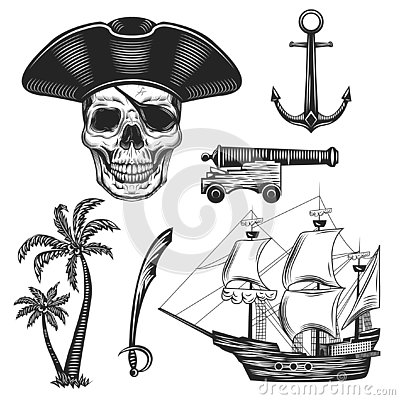 Free Vintage Illustration Set Of Pirates Stock Photography - 128948212