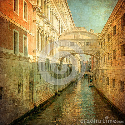 Vintage image of Bridge of Sighs, Venice