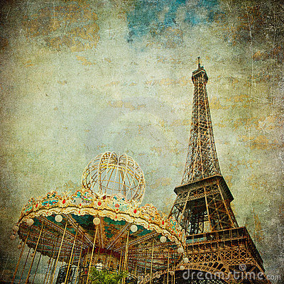 Vintage image of Eiffel tower, Paris