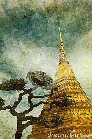 Vintage image of Golden stupa