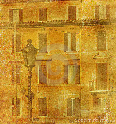Vintage image of house in Rome