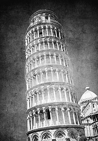 Vintage image of Leaning tower of Pisa, Italy