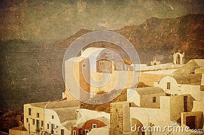 Vintage image of Oia village at Santorini, Greece