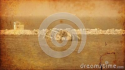 Vintage image of wreck old ship wreck