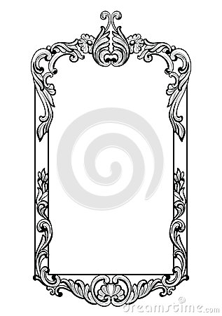 Vintage Imperial Baroque Mirror frame. Vector French Luxury rich intricate ornaments. Victorian Royal Style decor Vector Illustration