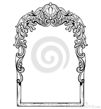 Free Vintage Imperial Baroque Mirror Frame. Vector French Luxury Rich Intricate Ornaments. Victorian Royal Style Decor Stock Image - 94059351