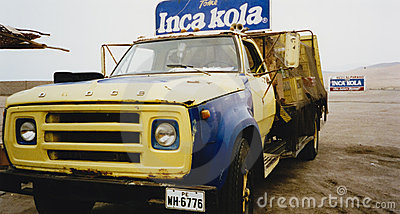 Vintage Inca kola delivery truck peru Editorial Photography