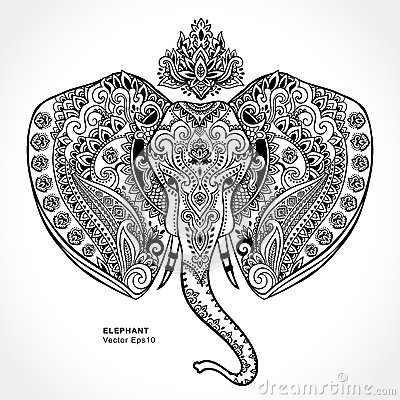 Free ornamental mandala vector download free vector art stock - Vintage Indian Elephant With Tribal Ornaments Mandala