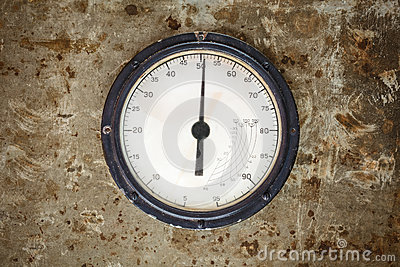 Vintage industrial meter on a metal background