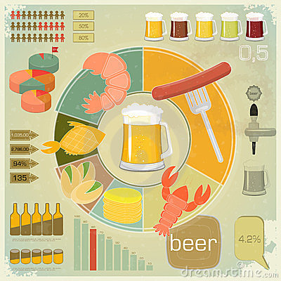 Free Vintage Infographics Set - Beer Icons, Snack Stock Photo - 24005450