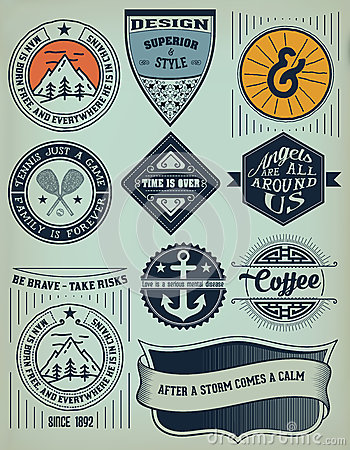 Vintage Insignias / logotypes set. Vector Illustration