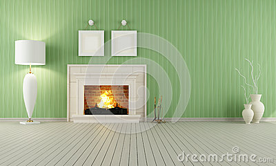 Vintage interior with fireplace