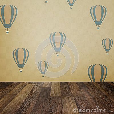 Free Vintage Interior Grunge Background With Wooden Floor And Balloon Stock Images - 33668644