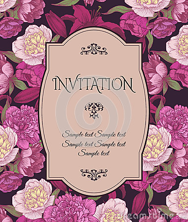 Vintage invitation card with hand drawn pink and white peonies, red lilies, can be used for baby shower, wedding, birthday and oth Vector Illustration