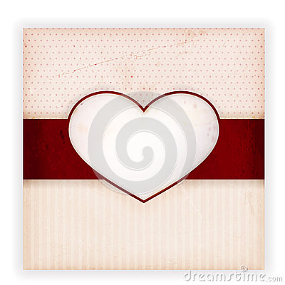 Vintage invitation card with heart label