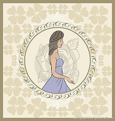 Vintage invitation with girl, sketch style